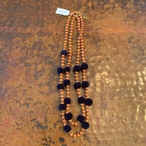 NWT J Crew Pom-Pom and Beads Layered Necklace